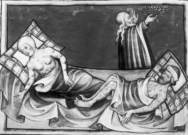 Illustration of Victims of Bubonic Plague from the Toggenberg Bible